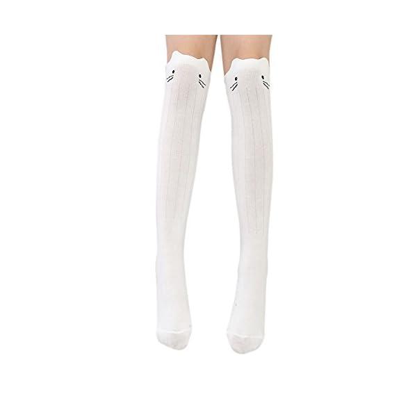 Blaward Baby Kids Knee High Socks Cute Kitten Prints Calcetines largos de algodón para niñas 3-12Years 3