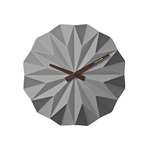 Karlsson Origami Uhr, Wanduhr, Keramik, Grau, One Size
