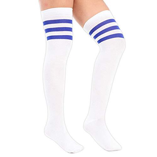 Purple Hanger Neu Womens Weiß Kontrast-streifen Baumwolle Freizeit Lang Damen Sport Gestreift Stretch Überknie Socken Einheitsgröße (Königsblau) (Baby Unkraut Kostüm)