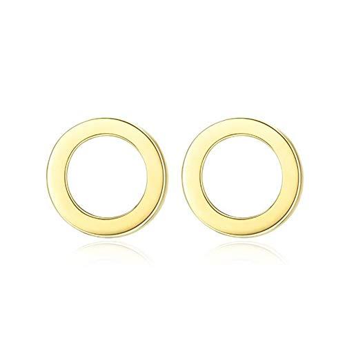 Fashion Jewelry@ 14 Karat Gelbgold Ohrstecker Gold 585 Rund Ring Minimalist Damen Ohrringe mit Silikonrücken Mode Ohrschmuck Ausdruck der Liebe