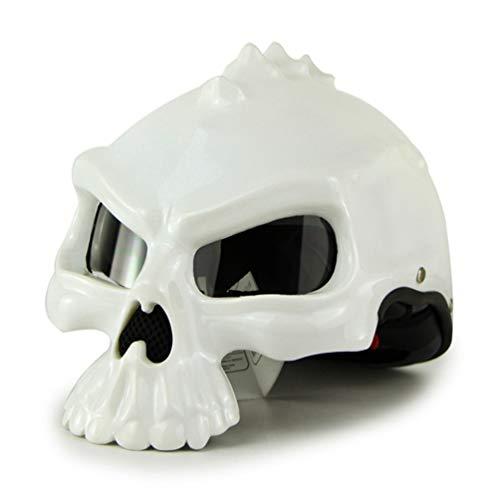 Qianliuk Motorrad-Motobike-Helm Skull Elf Halb-Face-Helm-Helm-Bubble Mirror Doppel-Face-Wechsel Motocross-Helm mit Goggles Erwachsener