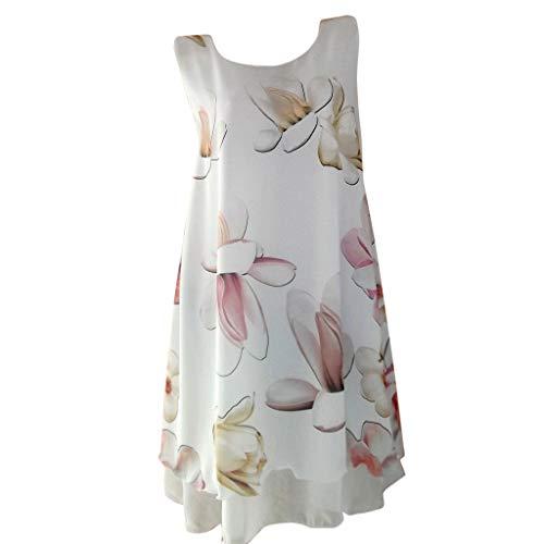 Sumeiwilly Bluse Damen Sommer Shirt beiläufiges Chiffon Kleider Sleeveless Patchwork Kleid Sweatshirt Langarmshirt Lose Hemd Tunika Strandkleid Partykleid S-5XL -