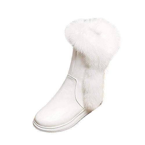 (ZHRUI Round Head Slope Fashion Seitliche Reißverschlüsse, um Warm Damen Mittlere Stiefel zu halten (Farbe : Weiß, Größe : 7.5 UK))