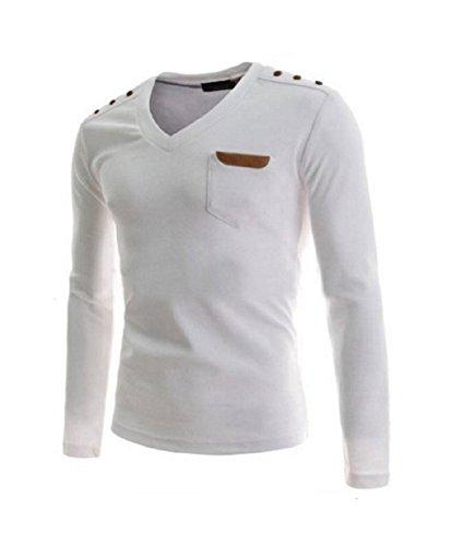BOMOVO Herren V-Ausschnitt Warm Funktionsunterwäsch Slim Langarmshirt Weiß