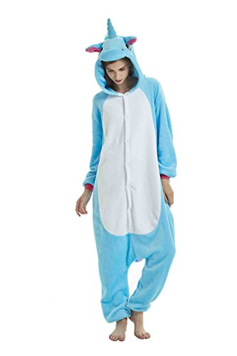 UMIPUBO Pijamas Unisexo Adulto Cosplay Traje Disfraz Adulto Animal Pyjamas Ropa de Dormir Halloween y Navidad Franela (XL:177-185cm, Unicornio Azul)