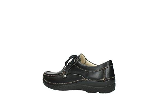 Laccio Wolky scarpe, 6286 squallido Stroll Nero (300 schwarz Leder)