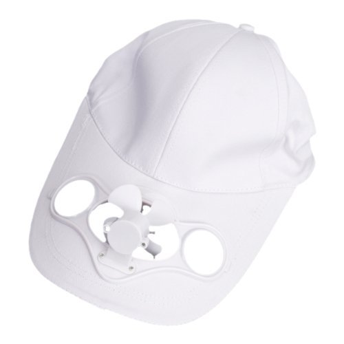 TOOGOO(R) Solar Powered Air Fan Cooled Baseball Hat w/ Solar Panel on the Cap Front Eco Friendly Camping Traveling (Cap Colour:White / Fan Colour:White)--Adjustable Buckle in Back to Fit Almost Anyone Test