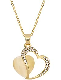 FreshVibes Heart Pendant Necklace For Women – Gold Plated Heart Necklace For Girls