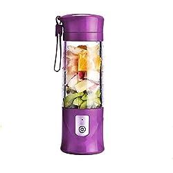 Portable Mixeur des Fruits rechargeable USB,Mini Blender Pour Smoothie, Milk-shake,Jus de fruits,Masque facial,Blender Portable 350-420ml 6 Lames pour Sport et Voyage,Sans BPA,Bouteille type (Violet)