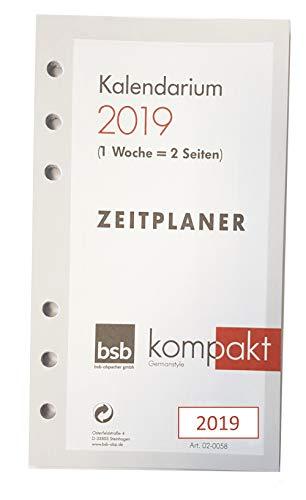 BSB 0058 Kalendarium Time-Planer pocket A6 Zeitplaner 1 Woche auf 2 Seiten Jahr 2019