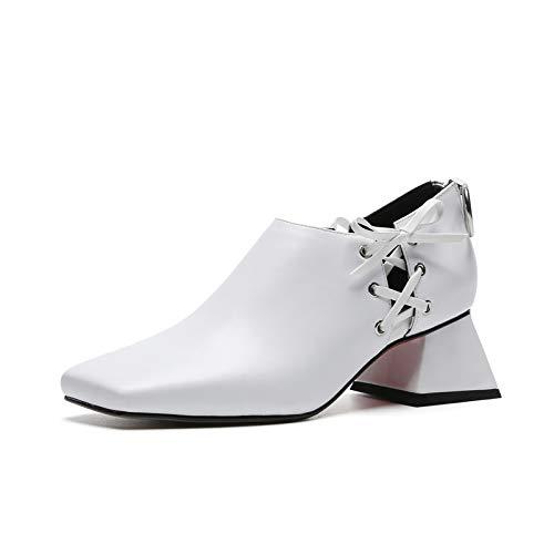 MENGLTX High Heels Sandalen Marke Frauen Echtes Leder Karree Pumps Mode Hochhackigen Reißverschluss Party Nachtclub Schuhe Frau Neue Pumps 8 Weiß -