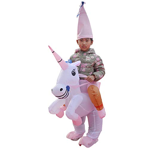 Kinder Girl Kostüm Hit - thematys Aufblasbares Einhorn Kostüm - Lustiges Luftkostüm mit Hut für Kinder 100cm-140cm - Perfekt für Karneval, Junggesellenabschied oder Halloween