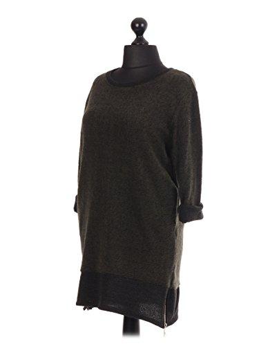 LavishFashionTown Top à manches longues - Femme Taille Unique Kaki