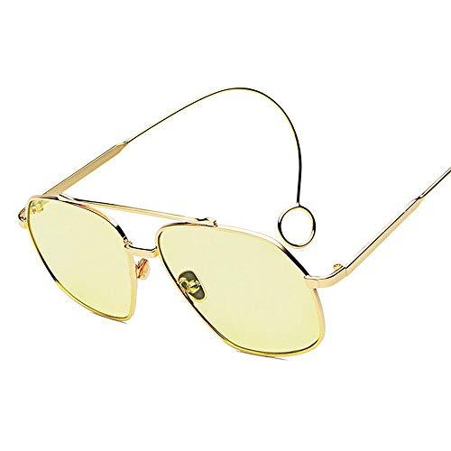 WULE-RYP Polarisierte Sonnenbrille mit UV-Schutz Damenmode Street Ohrringe Sonnenbrille Sun Flat Glasses, Multicolor. Superleichtes Rahmen-Fischen, das Golf fährt (Farbe : Gold Frame Yellow)