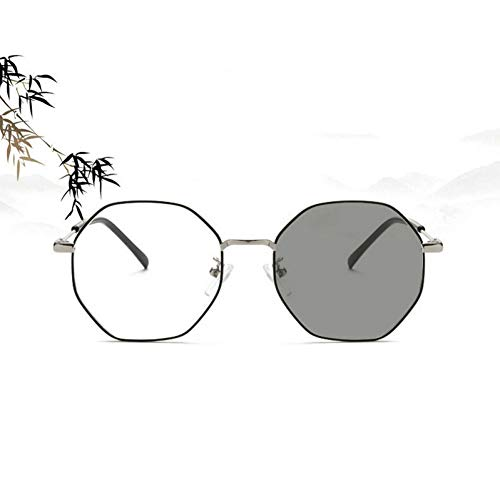 GBST Exquisite Stainless Steel Thin-Rimmed Glasses Frame Photo-induced Gray Lens Goggles,A3