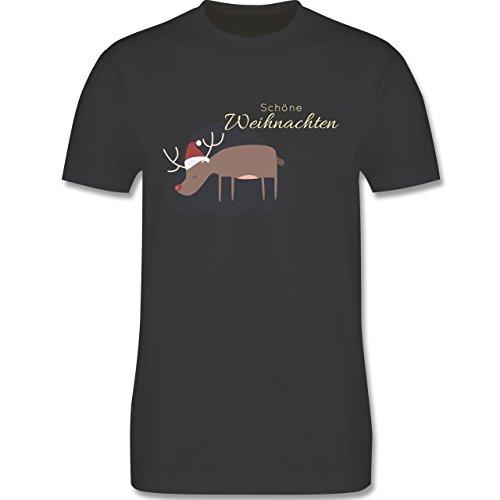 Weihnachten & Silvester - Schöne Weihnachten Elch Weihnachtsmütze - Herren Premium T-Shirt Dunkelgrau