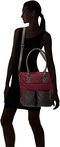 Lola Casademunt Damen Bolso Nylon Bolsillos Eco-Piel Tasche, Einheitsgröße Granatrot