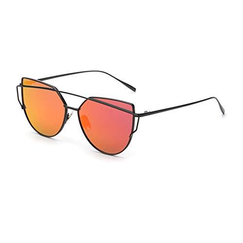 BAIYI Cat Eye Sonnenbrille Lady Vintage Rose Gold reflektierende Reise/Sonnenbrille Fahren,Red