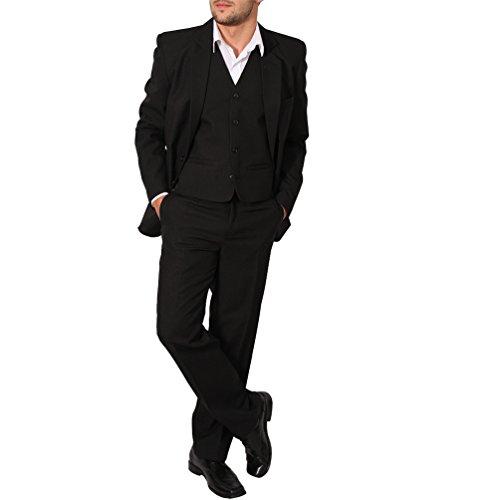 Regular Herren Anzug 3Teiler Sakko Hose Weste Büro Business Hochzeit H10 (50, Schwarz)