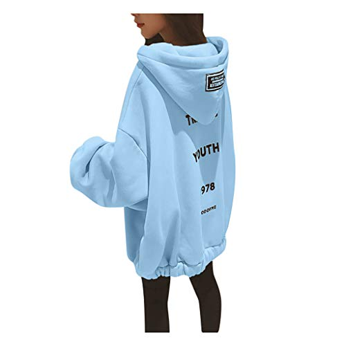 XINAINI Kapuzenpullover Damen Winter Pullover - Mode Einfarbig Strickpullover Kapuzenjacke Warm Langarmshirt Sweatshirt Gestrickter Oversize Lockeres Hoodie Weihnachtspullover(L,Blau)