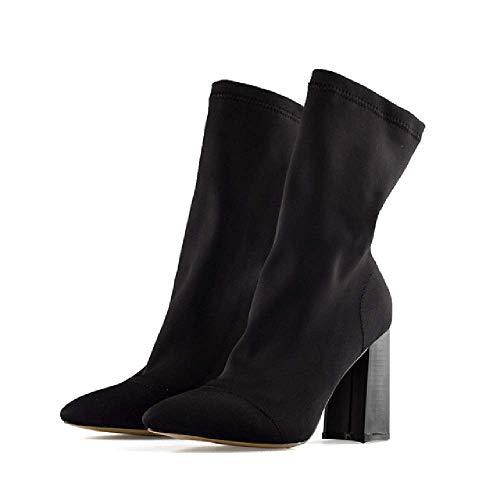 DYSY Frauen Stiefel Spitz Garn Elastische Stiefeletten Starke Ferse High Heels Schuhe Frau Weibliche Socken Stiefel