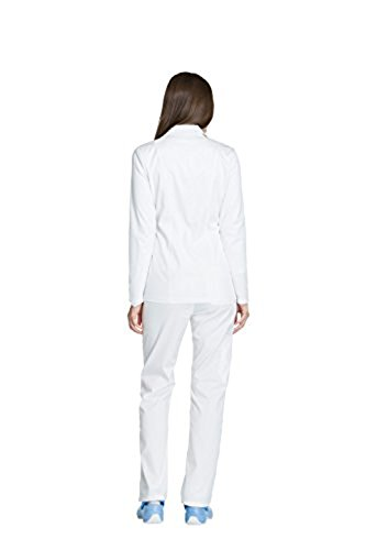 Essence By Dickies Women's Zip Front Warm-Up Solid Scrub Jacket Small White (Dickies Zip Scrubs)