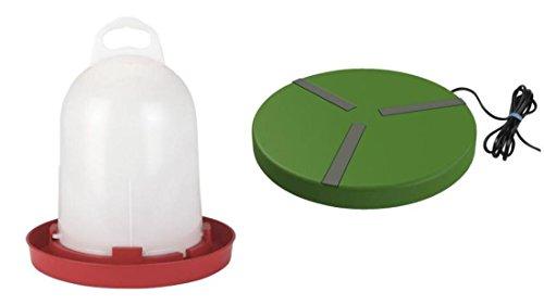 Cajou Kuststofftränke mit Heizplatte für Hühner Enten Gänse Geflügel Vögel Wachteln (mit 5,5 l Stülptränke)
