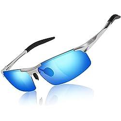 Moda para hombre que conduce gafas de sol polarizadas - Gafas rectangulares para hombre Marco de metal Al/Mg Ultra ligero 100% UVA Protección UVB para conducir Deporte Golf Correr Pesca