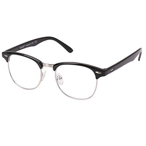 Cyxus lumière bleue lunettes demi-trame [Transparent Lentille] anti fatigue oculaire, grande pour les lecteurs d'ordinateur/téléphone portable/jeu(noir cadre)