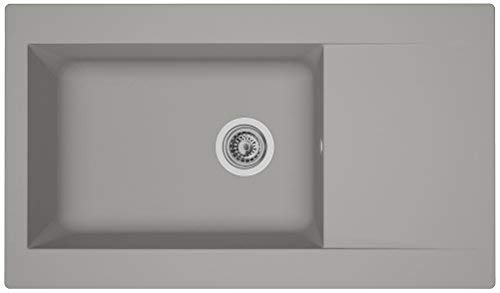 respekta Mineralite Spüle Küchenspüle Spülbecken Einbauspüle Denver 86 x 50 betongrau