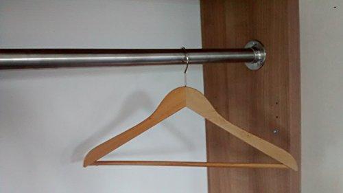 110 cm Premium Edelstahl Kleiderstange – Edelstahl V2A D 33,7 mm – hochwertige Oberfläche – Set für Garderobe Kleiderschrank oder Nische LIVINDO - 5