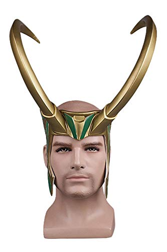 MingoTor Superheld Maske Cosplay PVC Maske Goldene Riesenhörner Helm