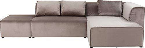Kare 83521 Design Sofa Infinity Velvet Grau Exclusive, Polstersofa, Big-Sofa, Loungesofa, Wohnzimmer Couch mit Sofakissen, individuell kombinierbar (H/B/T) 71x310x185cm