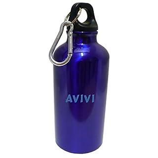 Personalisierte Wasserflasche mit Karabiner mit Text: Avivi (Vorname/Zuname/Spitzname)