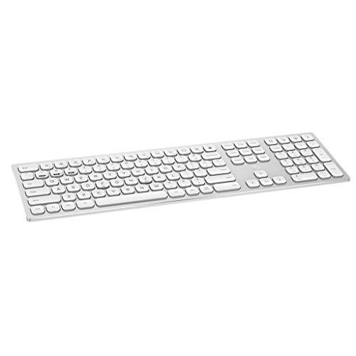 fang FANS Tastatur Die kabellose 2.4G / Bluetooth 4.0-Gaming-Tastatur kann DREI Geräte gleichzeitig für Smartphones/Computer/Desktops/PCs/Laptops/Smart-TVs und Windows 10/8/7 verbinden (Silber) - Vertiefte Fan Licht