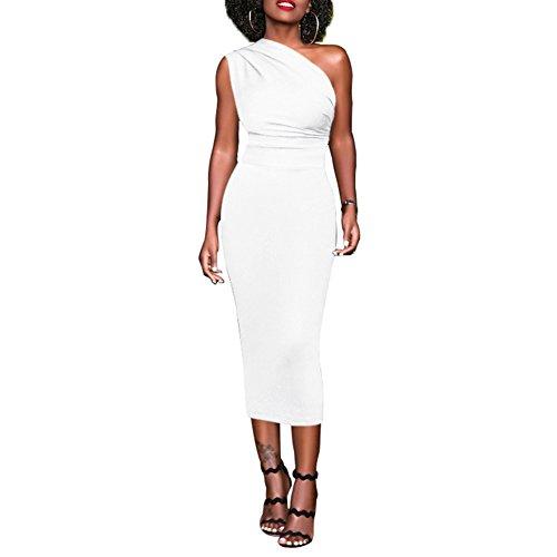 Super R&S Women's Solid Ruched Midi Dress - Sexy Slim Fit Vintage Dress