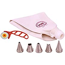 Noor Cake Decoration Icing Bag (Reusable) 35cm with 5 Nozzle, Steel and Cotton ,White, 6 Pc Set