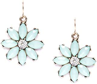 Happiness Boutique Damas Pendientes Llamativos de Inspiración Vintage en Color Menta con Diamantes de Imitación | Pendientes de Flor Tiernos Libres de Níquel