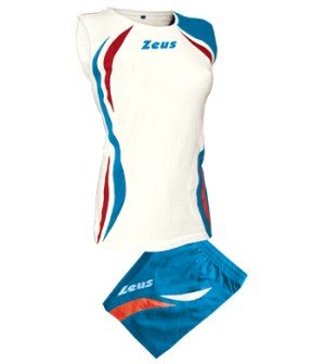 Zeus Damen Volleyball Trikot Hose Shirt Indoor Handball Training Ausbildung KIT KLIMA WEISS ROYAL ROT (S)