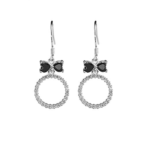Ohrringe 925 Sterling Silver Round With Bow Tie Earrings Ladies Fashion Silver Leaf Earrings Jewelry (Dreieck Bow Tie)