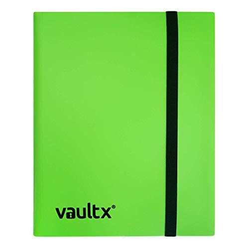 Vault X Heftmappe - 9 Fächer Sammelkarten Trading Cards Mappe - 360 Fächer mit Seitenöffnung für Spielkarten zum sammeln und tauschen (grün) (Prime Yu Gi Oh Karten)