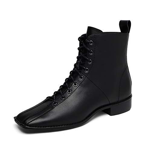 QPDUBB Ankle boots Cow Leather Boots Women Lace Up Ankle Booties Square Toe Shoes Female Short Casual Low Heels Shoes Ladies Autumn