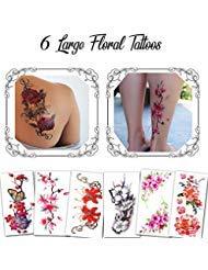 (Temporäre Tattoos Verschiedene Stile und Körperkunst Designs – Fake Tattoos für Erwachsene und Jugendliche Tattoos für Arme Beine Schulter oder Rücken (9 Blumen))