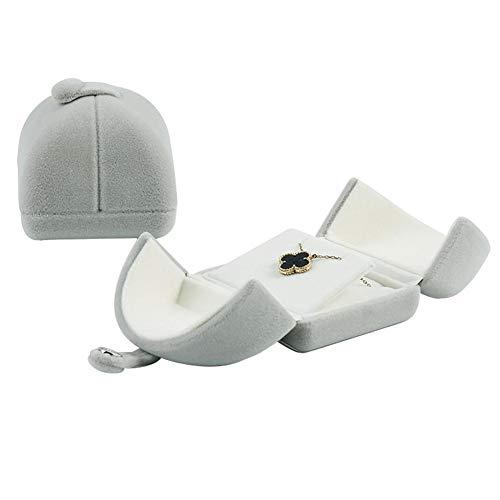 Haut de gamme Double Ouverture Boîte cadeau, bijoux, boîtes Package Coque pour collier boucles d'oreilles Cadeau (sans bijou), gris, necklace