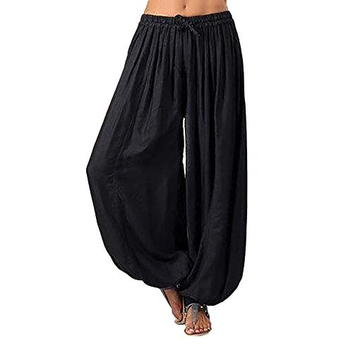 WOZOW Damen Trousers Haremshose Solid Bettwäsche Baumwolle Kordelzug Zug Lose Loose Bequem Leisure Aladdin Indian Lang Long Bloomers Knickers Übergröße Plus Size (3XL,Schwarz) (Moderne Aladdin Halloween)