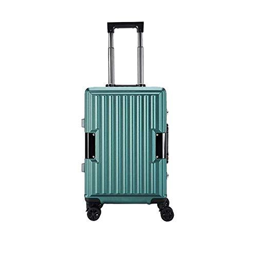 YYLE SNUA Koffer,Leichter Unisex-Koffer mit Aluminiumrahmen 20 Zoll 24 Zoll Boarding-Koffer mit superleichtem 4-Rad-Trimmer-green-20in (Wahl Trimmer Dual)