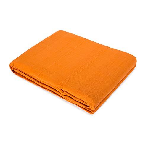 Colcha Plaid Multifunción para Sofá o Cama Algodón 100% VERDI (Naranja, 130x170)