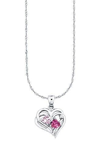 Amor Damen-Kette 42 cm mit Anhänger Herz 925 Silber Zirkonia rosa pink