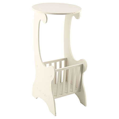 Xpork Round Side Table Small Magazine Shelf Tea Coffee End Table with Storage Rack Living Room Bedroom Furniture White