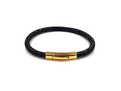 Rochenleder Armband schwarzes Rochenleder goldener Verschluss 18cm Herren Männer Damen Frauen Leder Armreif hochwertig gold Stingray leather - Herren Echte Stingray